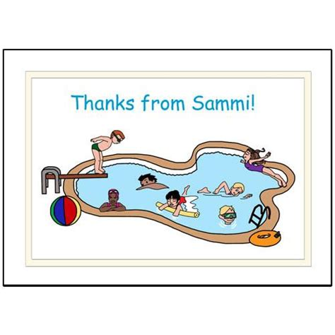 personalized swimming  pool party   notes