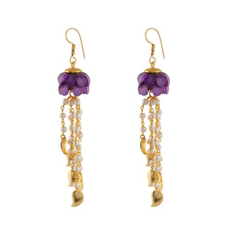 Purple Chandelier Earrings Buy Purple And Pearl Strings Chandelier Earrings For