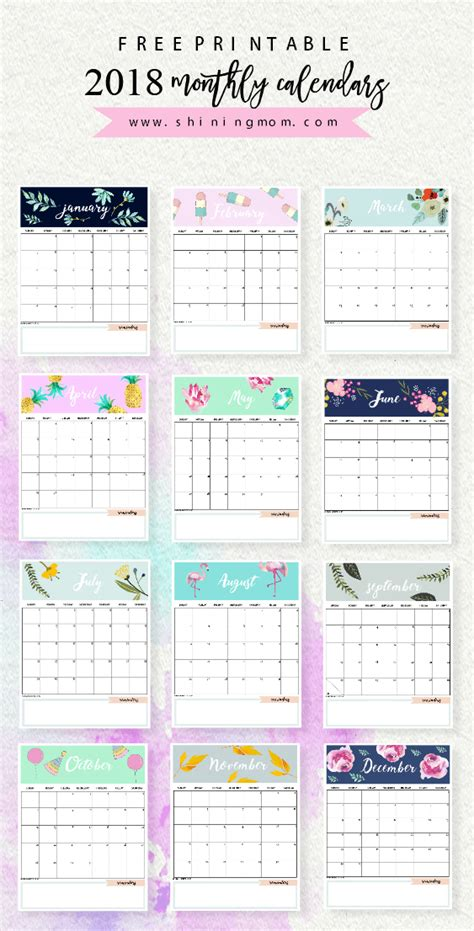 design calendar planner calendar 2018 printable 12 free monthly designs to love