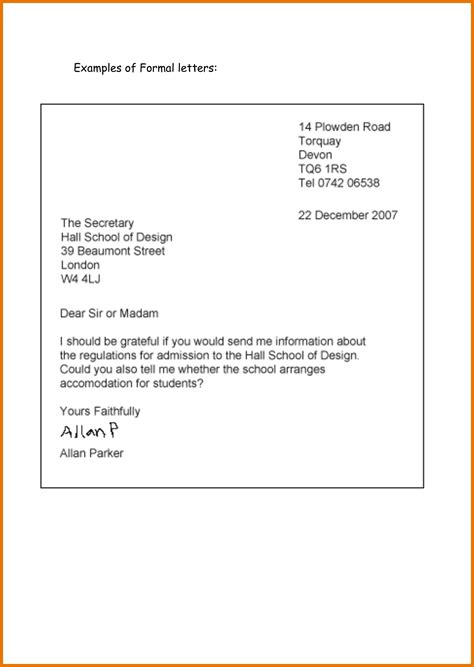 letter format for formal letter writing formal letter format for school students letters exle