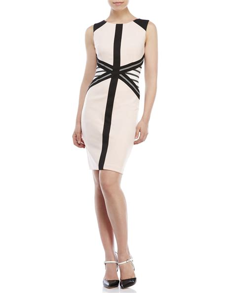 Ivanka Black Dress lyst ivanka color block sheath dress in black