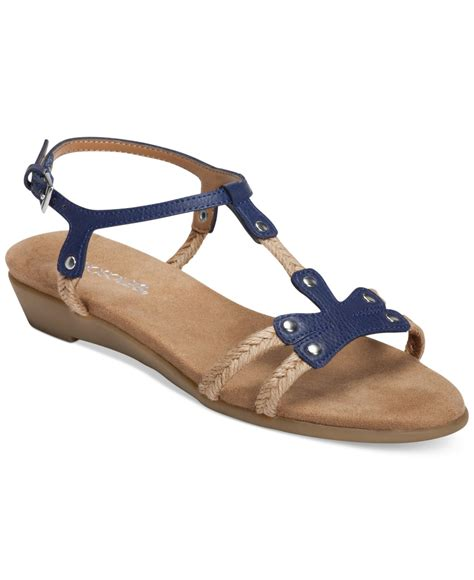 navy blue flat dress sandals lyst aerosoles back atcha flat sandals in blue