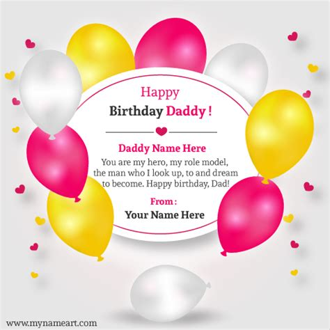 Happy Birthday Cards Write Name Write Name On Happy Birthday Card For Daddy Wishes
