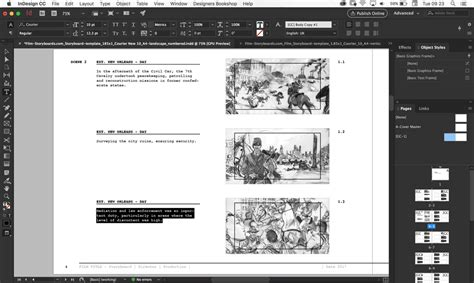 Storyboard Templates Film Storyboards Indesign Landscape Template