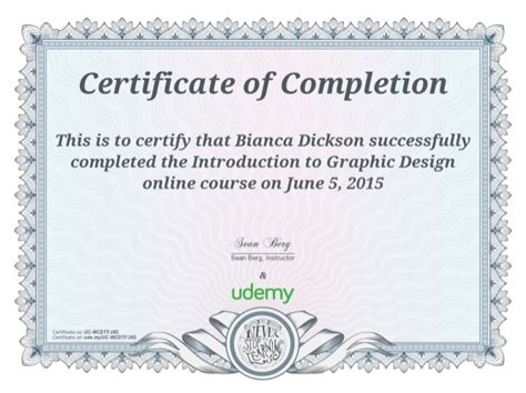 design a certificate of completion bd certificate of completion introduction to graphic