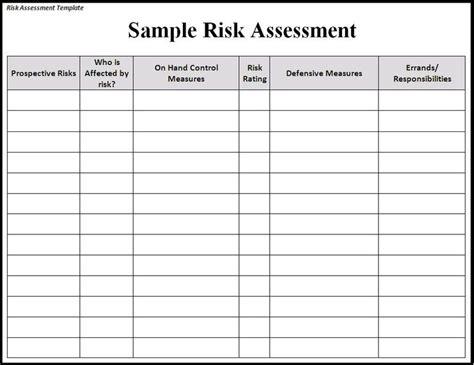 Risk Assessment Template Risk Sle Assessment Template Risk Assessments Pinterest Emergency Preparedness Risk Assessment Template