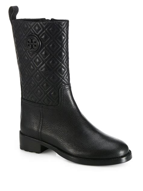 burch marion quilted leather midcalf boots in black