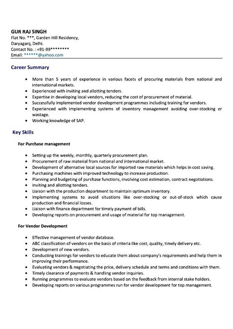 purchase resume format purchase executive resume sles free sles