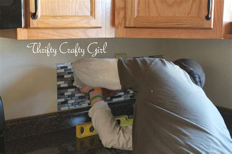 Kitchen Backsplash Glass Tile Ideas by Thrifty Crafty Easy Kitchen Backsplash With Smart Tiles