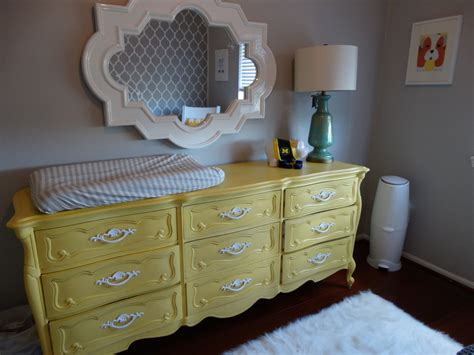 a neutral diy yellow and gray nursery provincial dresser provincial and chalk paint