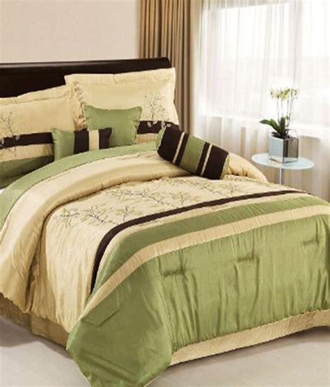 forest green comforter set chezmoi collection 7 piece taupe brown forest green