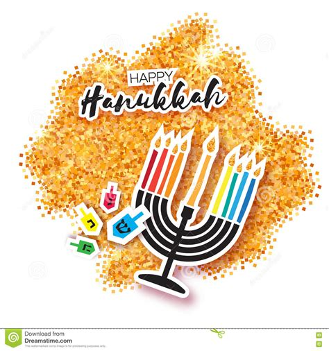 colorful origami happy hanukkah greeting card on gold