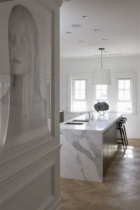 Marble Kitchen Floor Calacatta Marble Bench On Oak Herringbone Parquetry Flooring The Ultimate Dreaaaaaam Kitchen