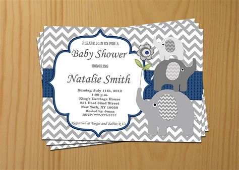 Elephant Baby Boy Shower Invitations by Elephant Baby Shower Invitation Boy Baby Shower Invitation