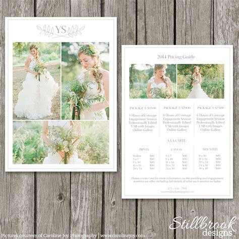 wedding album price list photography pricing template price guide list for