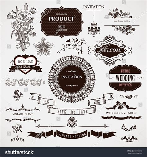 vector wedding design elements and calligraphic page decoration vector wedding design elements calligraphic page stock
