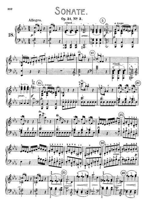 beethoven sonata para piano n 9 en mi mayor piano sonata no 18 op 31 no 3 beethoven ludwig