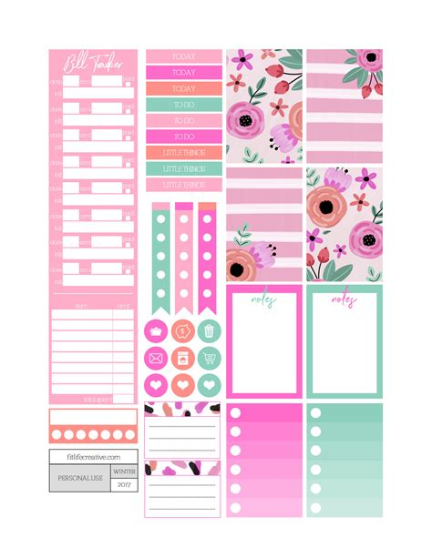 Monthly Planner Sticker hearts free printable monthly planner kit
