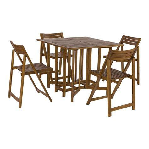 tavolo richiudibile con sedie set legno acacia salvaspazio chiudibile foldies set5