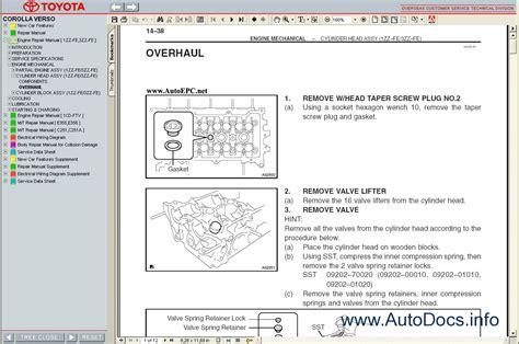 car repair manual download 2004 toyota corolla spare parts catalogs toyota corolla verso 2004 2009 service manual repair manual order download