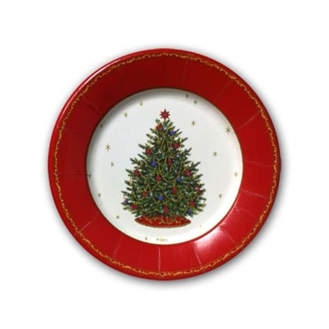 decorated christmas tree ivory dessert plates paperstyle