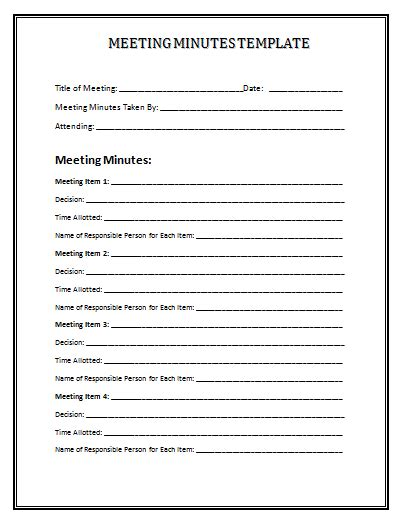 Templates For Minutes meeting minutes template e commercewordpress