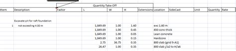excel format for quantity surveyor qsm501 2011 using excel spreadsheet to carry out taking off