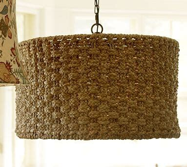 Seagrass Chandelier Shades Dining Room Table Holbrook Woven Seagrass Drum Shade Pendant Potterybarn Lighting