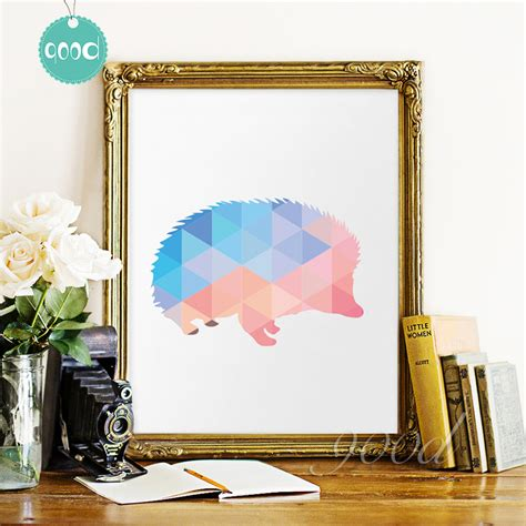 hedgehog home decor geometric hedgehog canvas art print painting poster wall