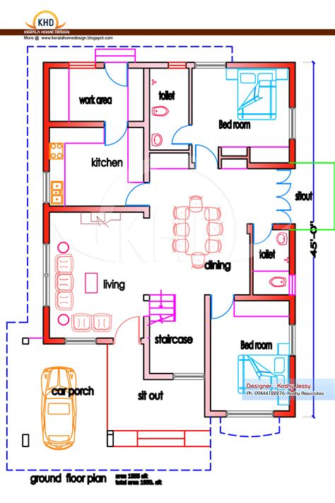kerala home design floor plan home plan and elevation 1950 sq ft kerala house design idea