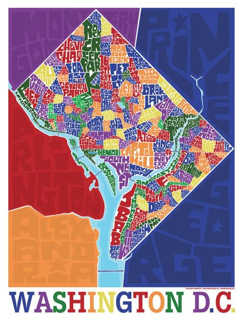 sections of dc washington dc neighborhood type map