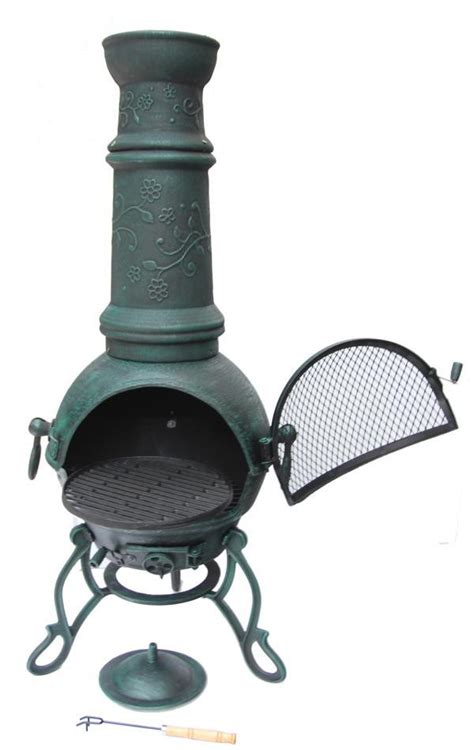 Cast Iron Patio Heater Solid Cast Iron Chimenea And Bbq Combi Verdigris Chiminea Patio Heater Barbeque Ebay