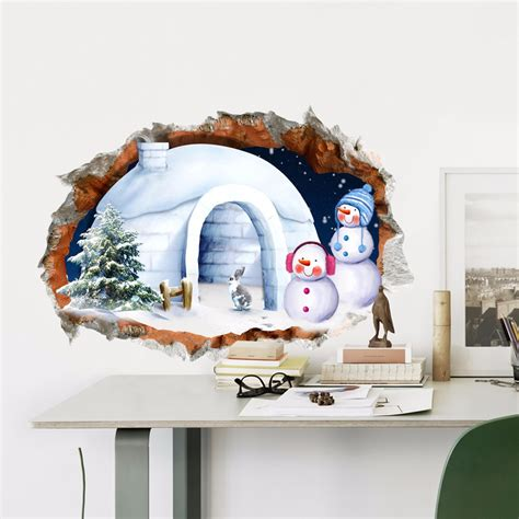 pag 3d christmas snowman house sticker wall decals home 3d