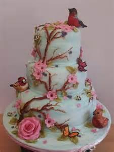 blue bird and flora cake by possum cakesdecor