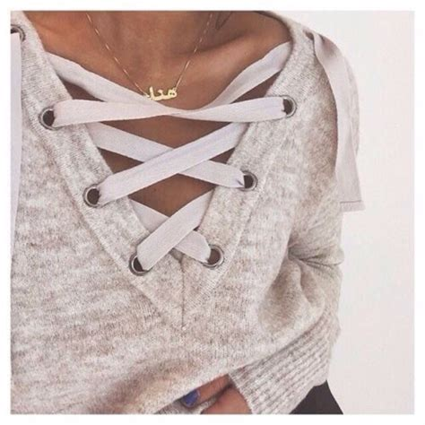 Lace Up Vneck Ruffle Knitted Sweater Series Sweater Knitsweater grey lace up neck crop sweatshirt shein sheinside