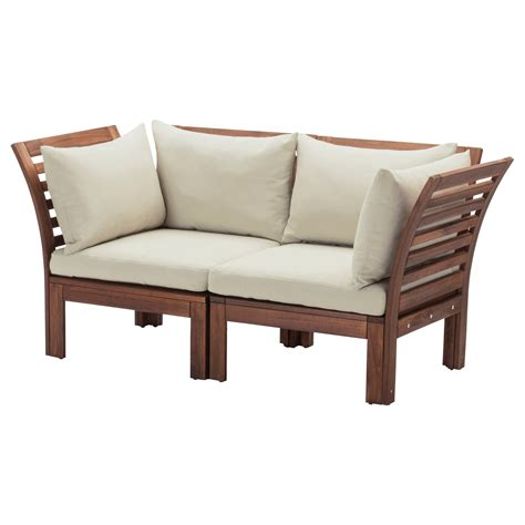 ikea outdoor sectional 196 pplar 214 h 197 ll 214 2 seat sofa outdoor brown stained beige