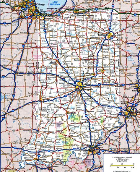 map on road road map of indianafree maps of us