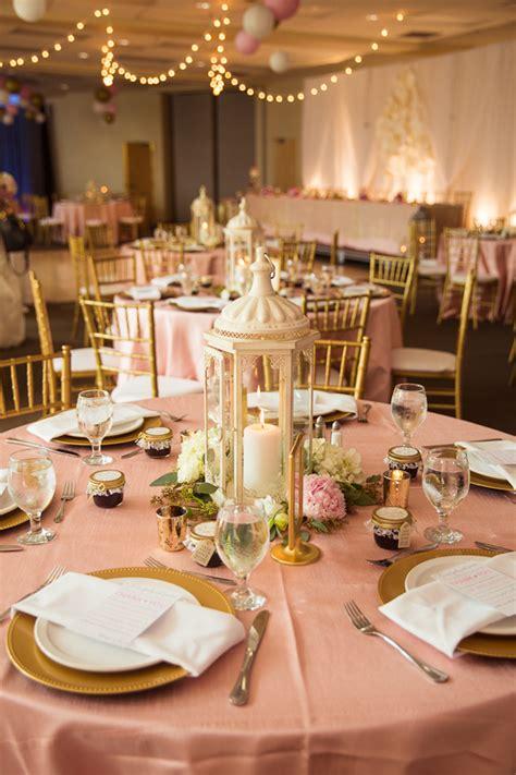 Blush And Gold Wedding Reception Lantern Centerpieces Gold Centerpieces Wedding Reception