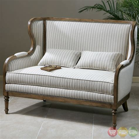 high back loveseat neylan striped linen solid wood frame high back loveseat 23160