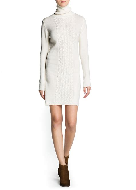 knitted turtleneck dress mango cable knit turtleneck dress in white neutral lyst