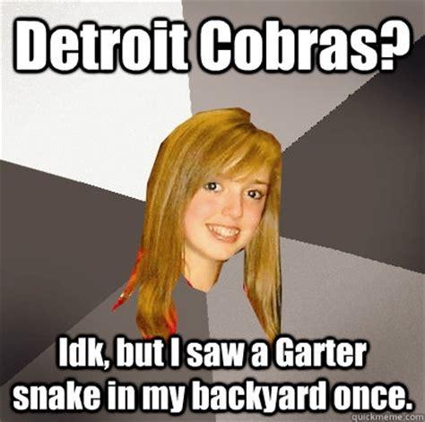Garter Snake Meme Detroit Cobras Idk But I Saw A Garter Snake In My