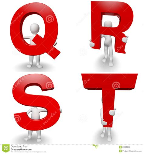 Character With Letter Q 3d Human Character Holding Letter Q R S T Stock Illustration Image 39592964