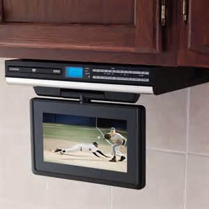 Tv Under Cabinet Kitchen by The Under Cabinet Tv With Dvd Player Hammacher Schlemmer