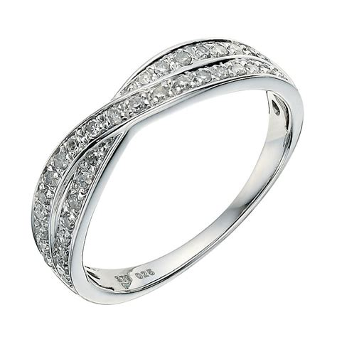 9ct white gold crossover 0 25ct wedding ring