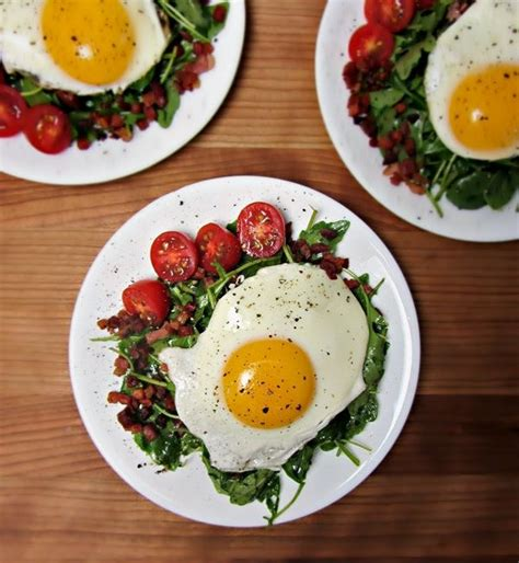 healthy fats with zero carbs crispy speck and fried egg arugula salad packed with