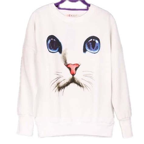 Eye White Sweater cat with large blue graphic print sweater in white