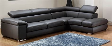 modern sectional sofa black snow white italian leather