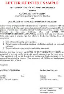 letter of intent sle business letter exles