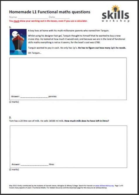 functional maths level 1 worksheets mss1 l1 8 skills
