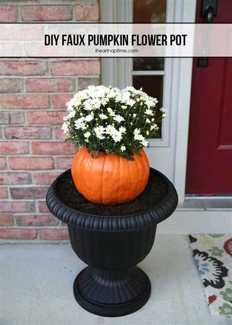 faux pumpkin flower pot  fall season decor
